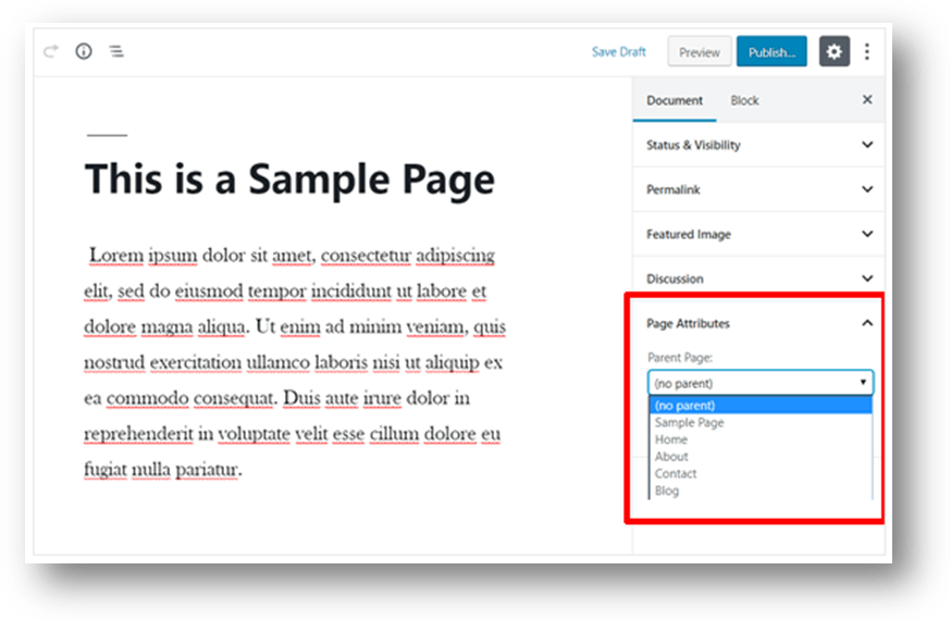 a wordpress post and a page